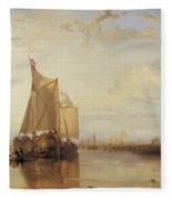 Dort Or Dordrecht The Dort Packet Boat From Rotterdam Becalmed Fleece Blanket