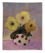 Dotted Vase With Yellow Flowers Fleece Blanket