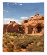 Double Arch Famous Landmark In Arches National Park Utah Fleece Blanket