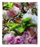 Double Cherry Blossoms Fleece Blanket