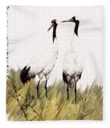 Double Crane Fleece Blanket