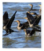 Double Crested Cormorants Fleece Blanket