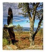 Double Exposure Osprey And High Point Nj Fleece Blanket