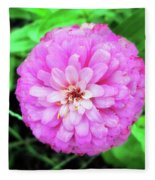 Double Pink Zinnia Fleece Blanket