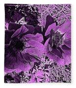 Double Poppies In Purple Fleece Blanket