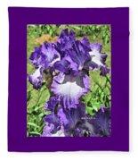 Double Ruffled Purple Iris Fleece Blanket