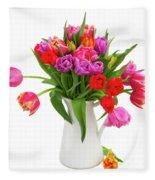 Double Tulips Bouquet Fleece Blanket