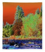Down Along The Spokane River Fleece Blanket