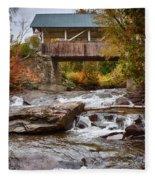 Down The Road To Greenbanks's Hollow Covered Bridge Fleece Blanket