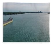 Downbound At Belle Isle Fleece Blanket