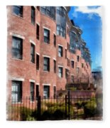 Downtown Burlington Vermont Watercolor Fleece Blanket