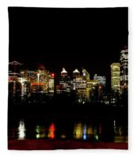 Downtown Calgary At Night Fleece Blanket
