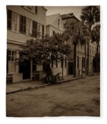 Vintage Downtown Charleston South Carolina Fleece Blanket