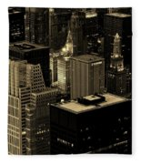 Downtown Chicago At Sunset Fleece Blanket