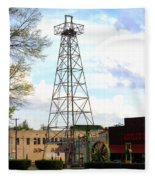 Downtown Gladewater Oil Derrick Fleece Blanket