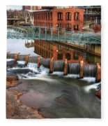 Downtown Greenville On The River Winter Fleece Blanket