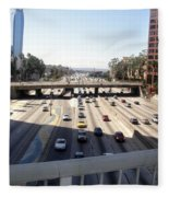 Downtown Los Angeles. 110 Freeway And Wilshire Bl Fleece Blanket