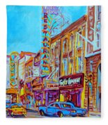 Downtown Montreal Street Rue Ste Catherine Vintage City Street With Shops And Stores Carole Spandau  Fleece Blanket