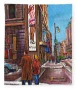 Downtown Montreal Streetscene At La Senza Fleece Blanket