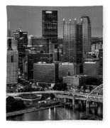 Downtown Pittsburgh At Twilight - Black And White Fleece Blanket
