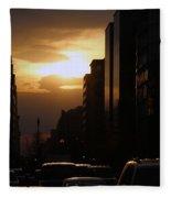Downtown Sunset From Parking Lot Fleece Blanket