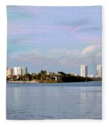 Downtown Tampa With Cruise Ship Fleece Blanket