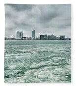 Downtown Windsor Canada City Skyline Across River In Spring Wint Fleece Blanket