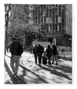 Downtownscape - Black And White Fleece Blanket