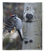 Downy Woodpecker Fleece Blanket
