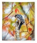 Downy Woodpecker In Autumn Forest Fleece Blanket