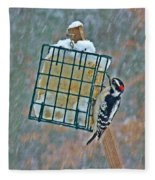 Downy Woodpecker In The Snow Fleece Blanket