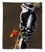 Downy Woodpecker On Tree Branch Fleece Blanket