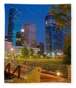 Dowtown Houston By Night Fleece Blanket