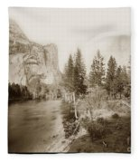 Domes And Royal Arches From Merced River Yosemite Valley Calif. Circa 1890 Fleece Blanket
