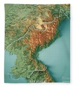 Dpr Korea 3d Render Topographic Map Border Fleece Blanket