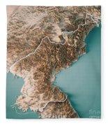 Dpr Korea 3d Render Topographic Map Neutral Border Fleece Blanket