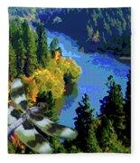 Dragonflight Over The Spokane River Fleece Blanket