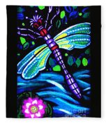 Dragonfly And Water Lily Fleece Blanket