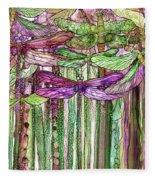 Dragonfly Bloomies 2 - Pink Fleece Blanket