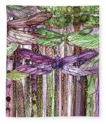 Dragonfly Bloomies 3 - Pink Fleece Blanket
