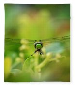 Dragonfly Dream In Green Fleece Blanket