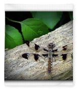 Dragonfly On Log Fleece Blanket