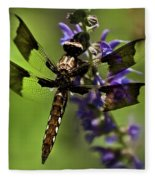 Dragonfly On Salvia Fleece Blanket