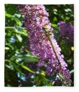 Dragonfly On The Butterfly Bush Fleece Blanket