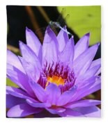Dragonfly On Water Lily Fleece Blanket