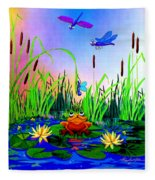 Dragonfly Pond Fleece Blanket