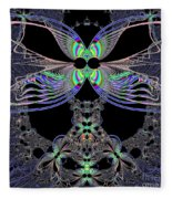 Dragonfly Queen At Midnight Fractal 161 Fleece Blanket