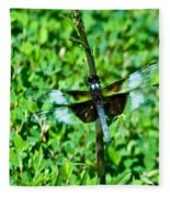 Dragonfly Resting On Stem Fleece Blanket