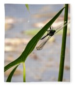 Dragonfly Resting Upside Down Fleece Blanket