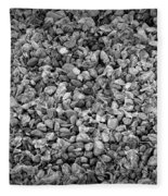 Dramatic Black And White Petals On Stones Fleece Blanket